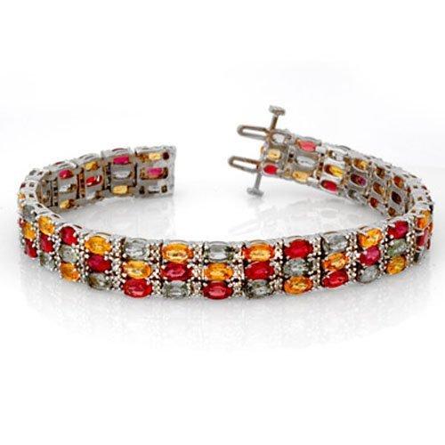 Genuine 32.26 ctw Multi-Sapphire & Diamond Bracelet