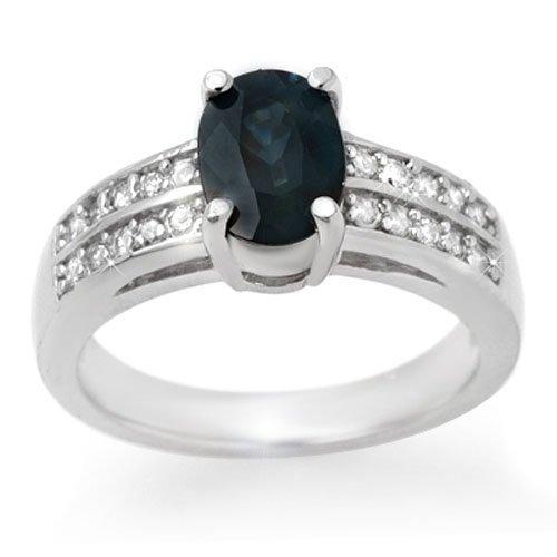 Genuine 3.19 ctw Sapphire & Diamond Ring 14K White Gold