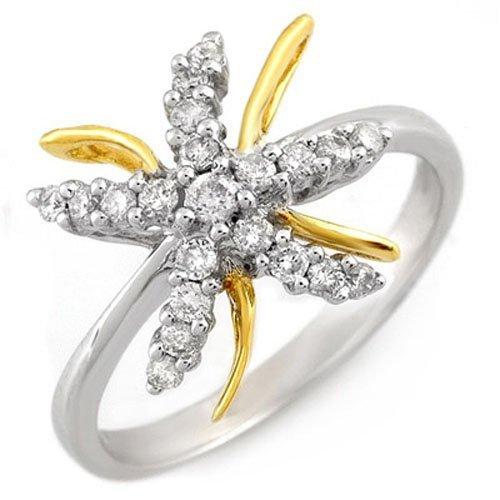 Natural 0.25 ctw Diamond Ring 10K Multi tone Gold