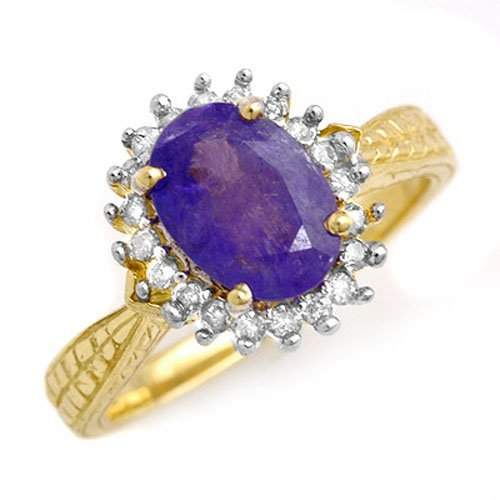 Genuine 1.47ct Tanzanite & Diamond Ring 10K Yellow Gold