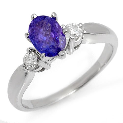 Genuine 1.25ct Tanzanite & Diamond Ring 14K White Gold