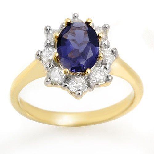 Genuine 1.75 ctw Kyanite & Diamond Ring 14k Gold