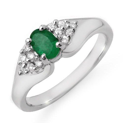 Genuine 0.63 ctw Emerald & Diamond Ring 10K White Gold