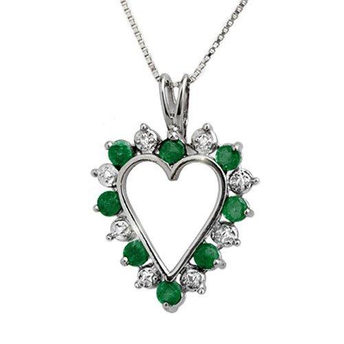 Genuine 0.80 ctw Emerald & Diamond Pendant White Gold