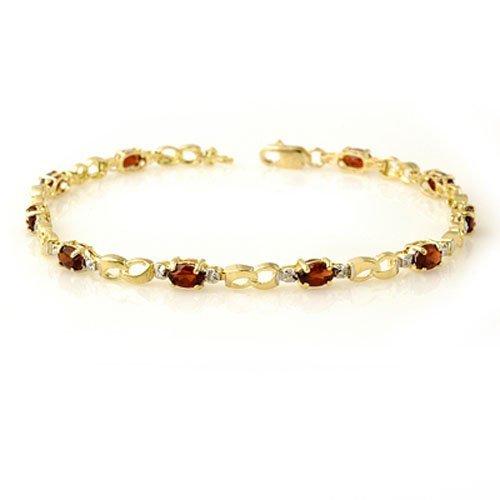 Genuine 2.76 ctw Garnet & Diamond Bracelet Yellow Gold