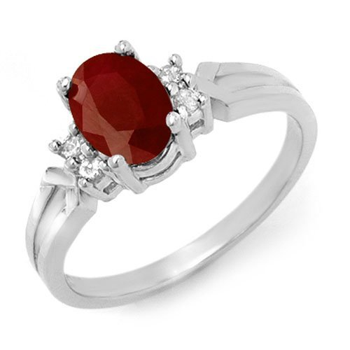 Genuine 1.29 ctw Ruby & Diamond Ring 10K White Gold