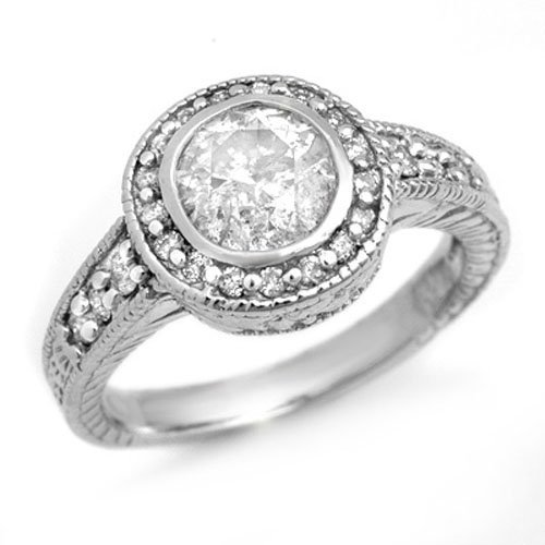 Natural 1.35 ctw Diamond Engagement Ring 14K White Gold