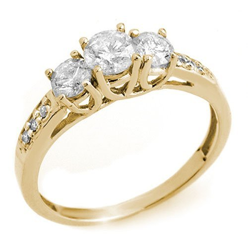 Natural 0.50 ctw Diamond 3-Stone Ring 14K Yellow Gold