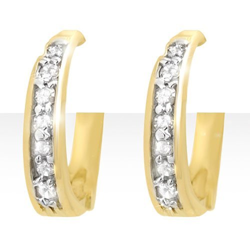 Natural 0.20 ctw Diamond Earrings 10K Yellow Gold