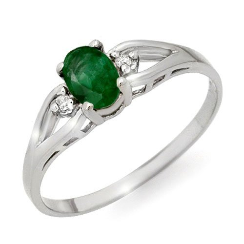 Genuine 0.56 ctw Emerald & Diamond Ring 10K White Gold