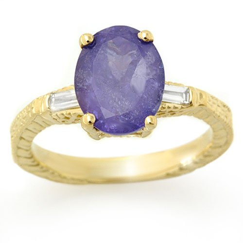 Genuine 3.7ctw Tanzanite & Diamond Ring 10K Yellow Gold