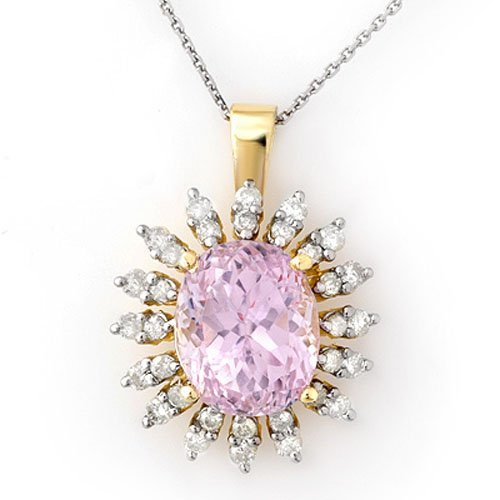 Genuine 8.68 ctw Kunzite & Diamond Necklace 14K Gold