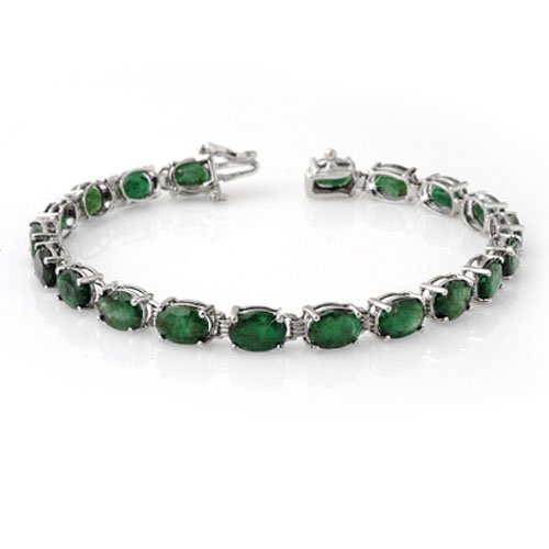 Genuine 16.25 ctw Emerald Bracelet 10K White Gold