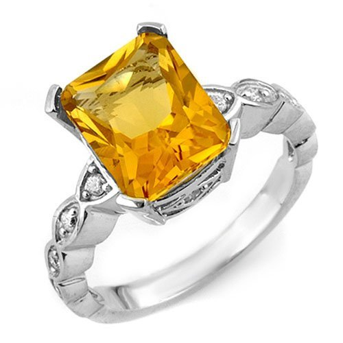 Genuine 4.25 ctw Citrine & Diamond Ring 10K White Gold