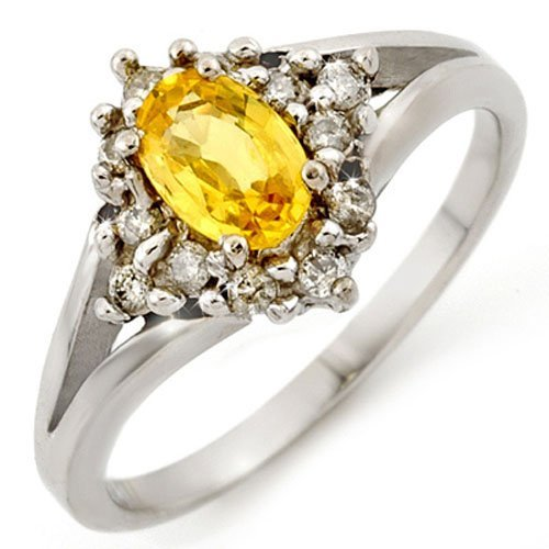 Genuine 0.95ctw Yellow Sapphire & Diamond Ring 10K Gold