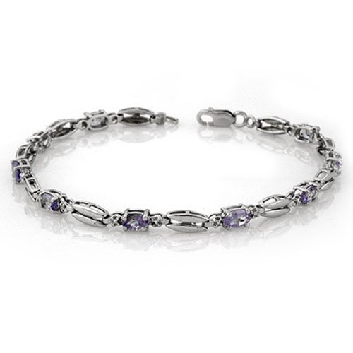 Genuine 2.0 ctw Tanzanite Bracelet 10K White Gold