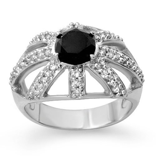 Natural 1.65 ctw White & Black Diamond Ring 10K White