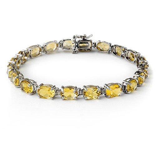 Genuine 16.4 ctw Citrine Bracelet 10K White Gold