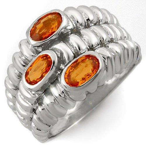 Genuine 1.25 ctw Orange Sapphire Ring 10K White Gold