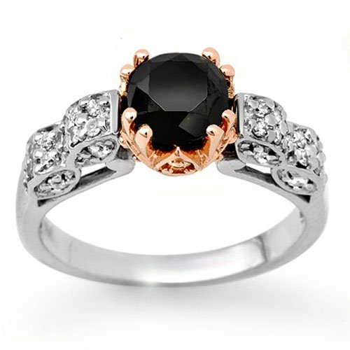 Natural 1.78 ctw White & Black Diamond Ring 14K Gold -
