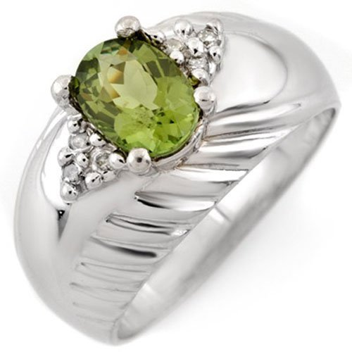 Genuine 1.15ctw Green Tourmaline & Diamond Ring Gold -