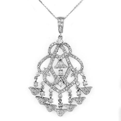 Natural 2.0 ctw Diamond Necklace 14K White Gold - L1188