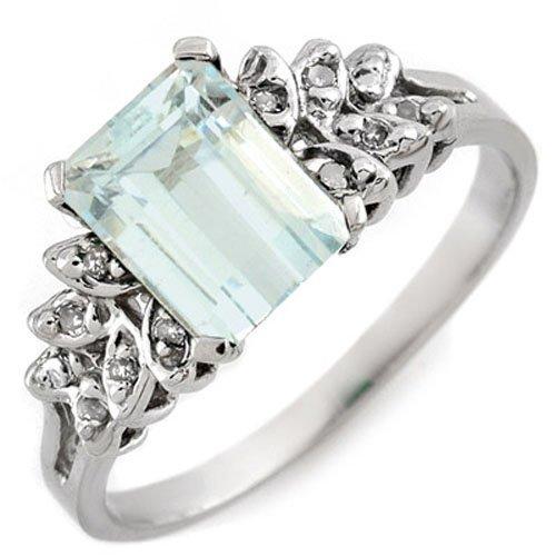Genuine 2.12 ctw Aquamarine & Diamond Ring 10k Gold -