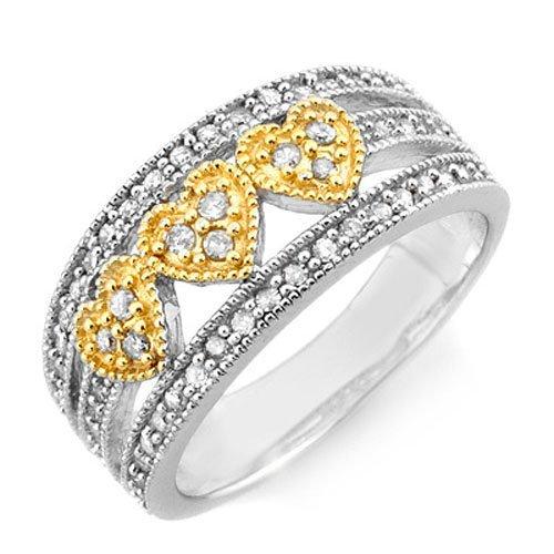 Natural 0.50 ctw Diamond Ring 10K Multi tone Gold -