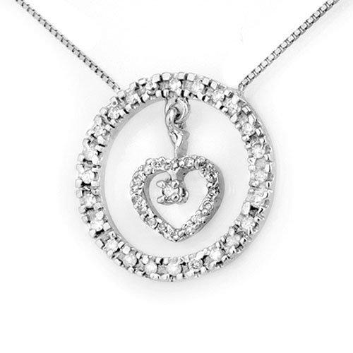 Natural 0.50 ctw Diamond Necklace 10K White Gold -