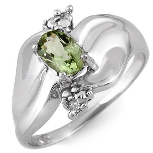 Genuine 0.54 ctw Green Tourmaline & Diamond Ring Gold -