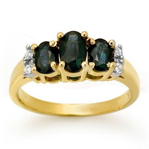 Genuine 1.33 ctw Sapphire & Diamond Ring Yellow Gold -
