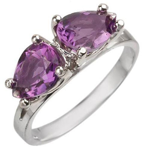 Genuine 2.0 ctw Amethyst Ring Jewelry 10K White Gold