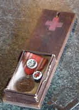 22: WWII JAPANESE RED CROSS ID BOARD & MEDAL