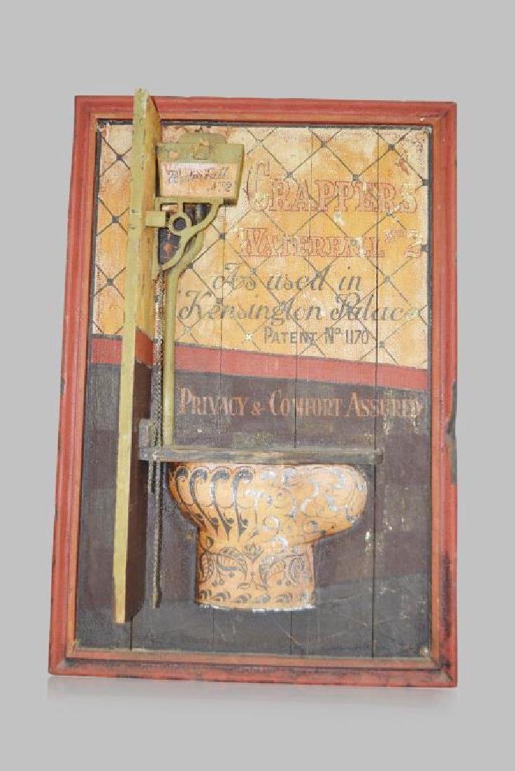 "Early Wood Toilet Trade Sign ""Crapper's Waterfall"""