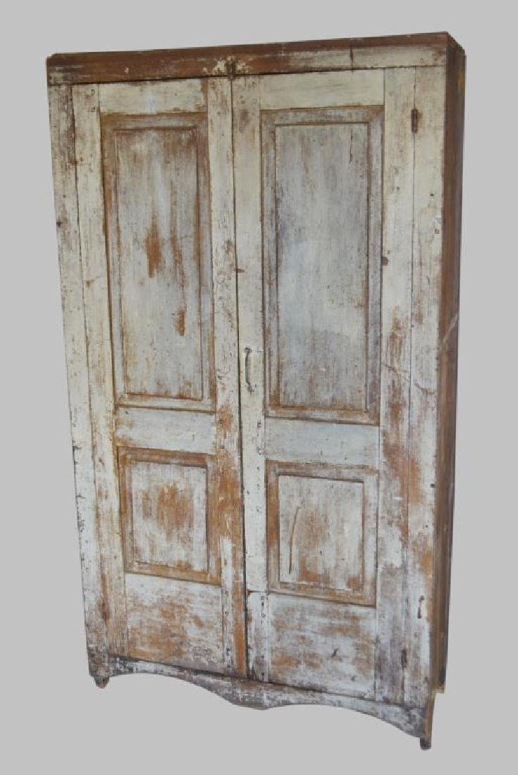 "Early Painted Cupboard w/ Raised Panel Doors 78""H,   43"