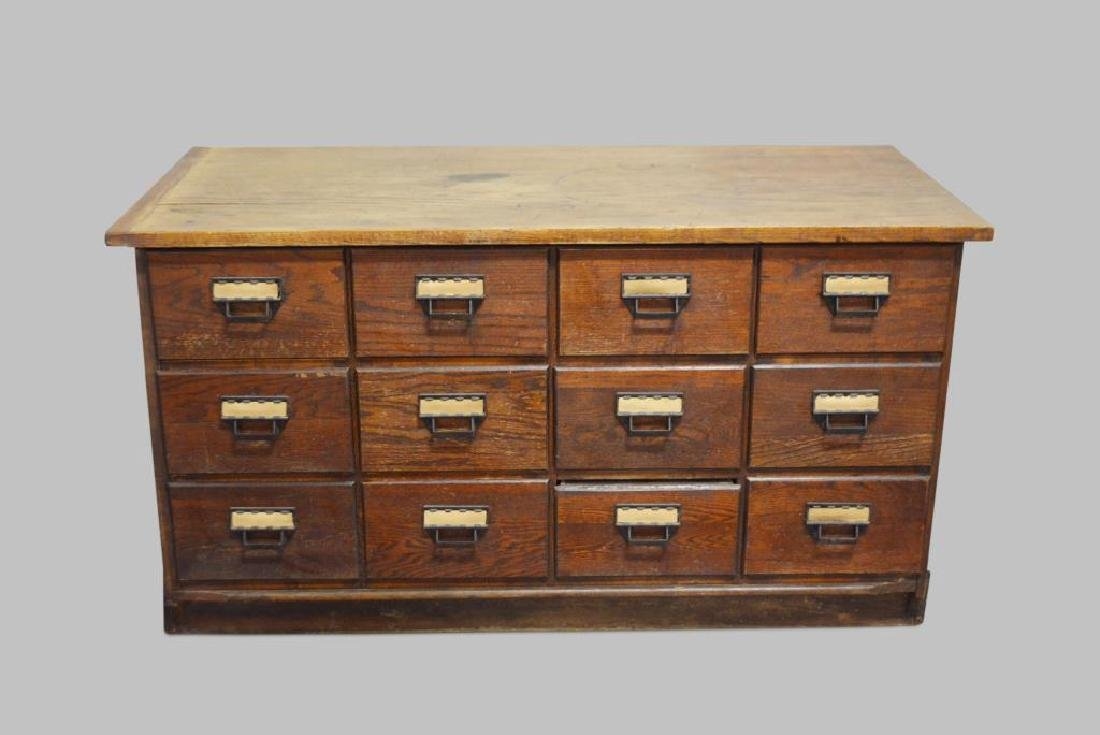 "Oak 12-Drawer Seed Counter 33 3/4""H,   61 3/4""L,   28"