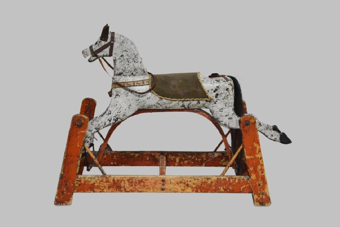 "Early Child's Rocking Horse 25 1/2""H,   31 1/4""L,   14"