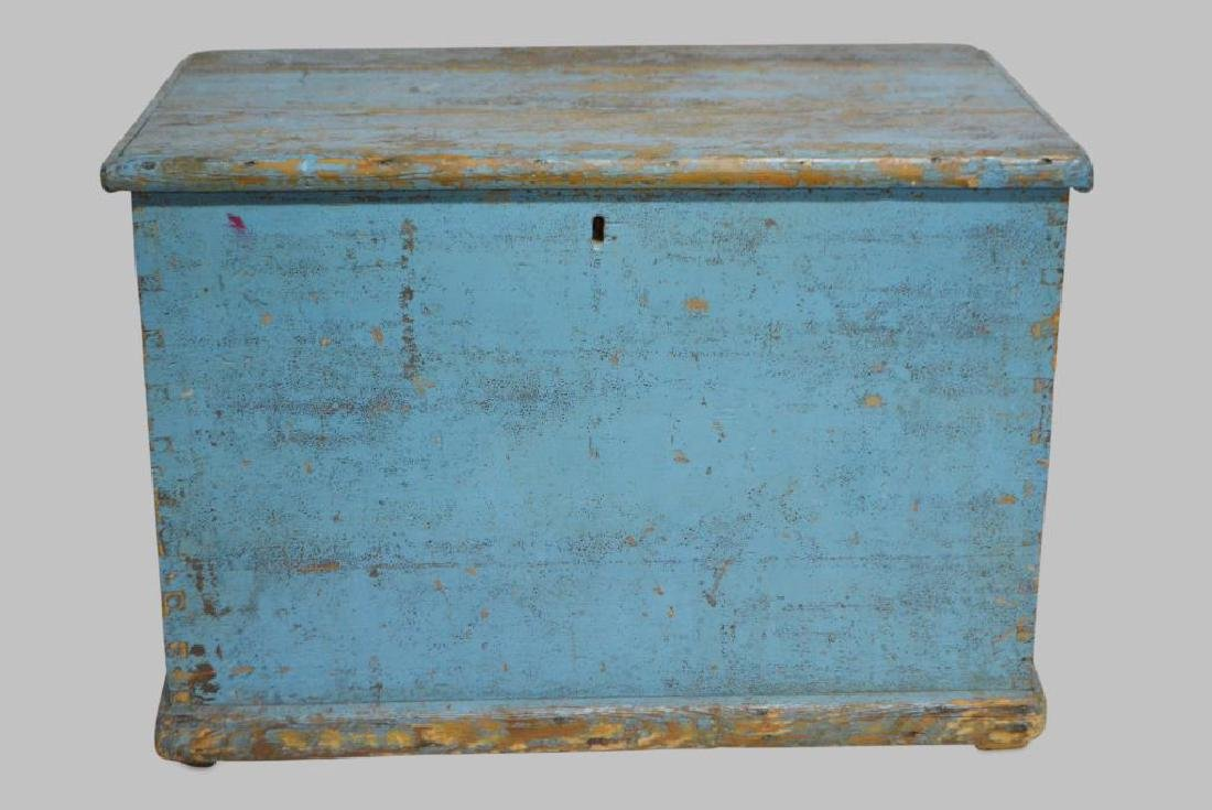 "Early Box in Blue Painted Surface 17""H,   25 1/2""L,"