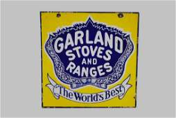 """Porcelain """"Garland Stoves and Ranges"""" Sign double"""