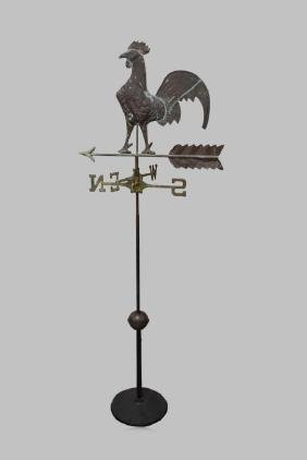 "Copper Rooster Weathervane 71 3/4""H,   25 3/4""  x   18"""