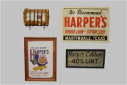 4-Piece Cotton Advertising Lot Harpers Seed Company