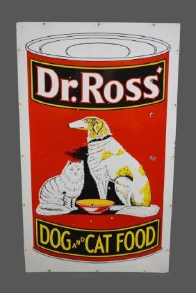 Porcelain Dr. Ross Dog and Cat Food Sign double sided