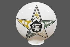 """Masonic Lodge Eastern Star Glass Globe 19""""H,   18""""  x"""