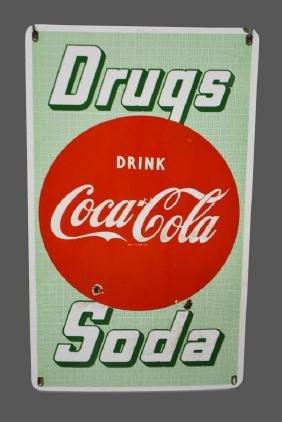 Porcelain Coca-Cola Drugs & Soda Advertising Sign 29