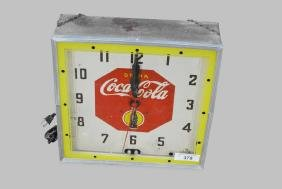"Advertising Neon Coca-Cola Clock *Works* 16""H,   15""  x"