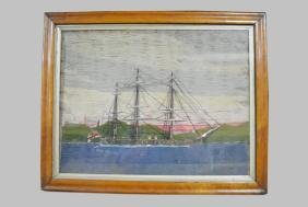 "Early Needlework of a Ship 20 1/2""  x   26"""