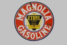 Porcelain Magnolia Gasoline Sign- Double sided 30""