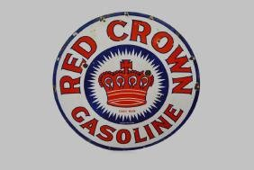 Porcelain Red Crown Gasoline Sign- Double Sided 30""