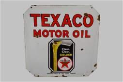 "Porcelain Texaco Motor Oil Sign- Double Sided 30"" x"