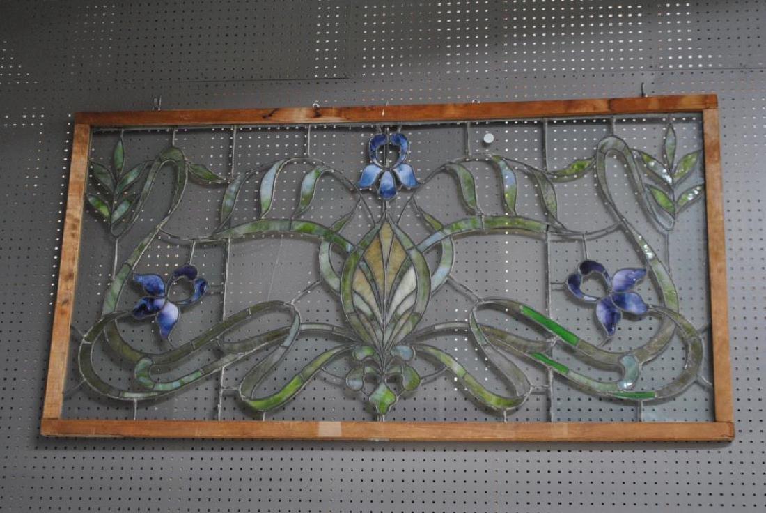 """Stained Glass Window w/ Iris Pattern 35""""  x   67 1/4"""""""